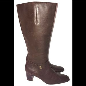 Victoria Spender brown leather knee-high boots 8